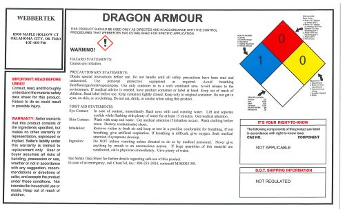 WEBBERTEK DRAGON ARMOUR LABEL
